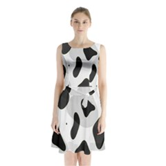 Abstract Venture Sleeveless Chiffon Waist Tie Dress