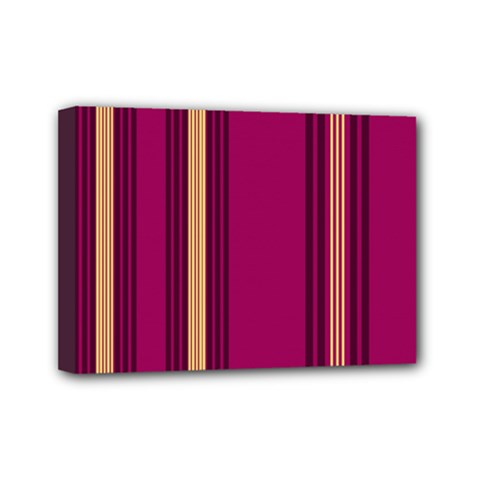 Stripes Background Wallpaper In Purple Maroon And Gold Mini Canvas 7  X 5