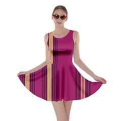 Stripes Background Wallpaper In Purple Maroon And Gold Skater Dress
