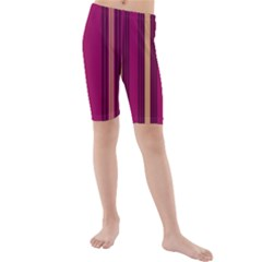 Stripes Background Wallpaper In Purple Maroon And Gold Kids  Mid Length Swim Shorts