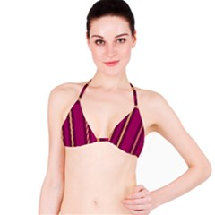 Stripes Background Wallpaper In Purple Maroon And Gold Bikini Top