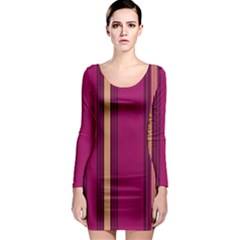 Stripes Background Wallpaper In Purple Maroon And Gold Long Sleeve Bodycon Dress
