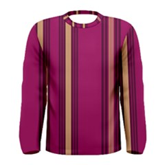 Stripes Background Wallpaper In Purple Maroon And Gold Men s Long Sleeve Tee