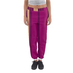 Stripes Background Wallpaper In Purple Maroon And Gold Women s Jogger Sweatpants