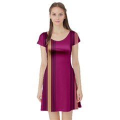 Stripes Background Wallpaper In Purple Maroon And Gold Short Sleeve Skater Dress