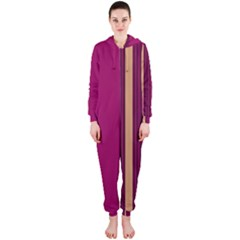 Stripes Background Wallpaper In Purple Maroon And Gold Hooded Jumpsuit (Ladies)