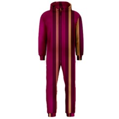 Stripes Background Wallpaper In Purple Maroon And Gold Hooded Jumpsuit (Men)