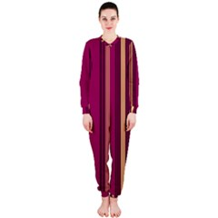 Stripes Background Wallpaper In Purple Maroon And Gold Onepiece Jumpsuit (ladies)