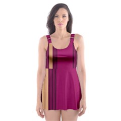 Stripes Background Wallpaper In Purple Maroon And Gold Skater Dress Swimsuit