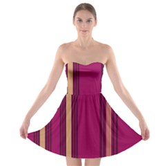 Stripes Background Wallpaper In Purple Maroon And Gold Strapless Bra Top Dress