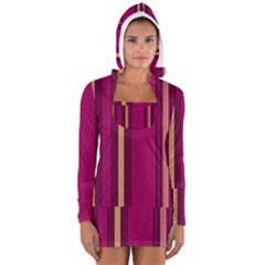 Stripes Background Wallpaper In Purple Maroon And Gold Women s Long Sleeve Hooded T Shirt