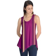 Stripes Background Wallpaper In Purple Maroon And Gold Sleeveless Tunic