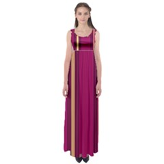 Stripes Background Wallpaper In Purple Maroon And Gold Empire Waist Maxi Dress