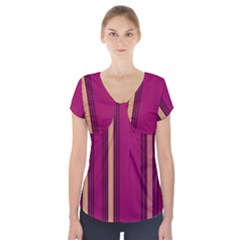 Stripes Background Wallpaper In Purple Maroon And Gold Short Sleeve Front Detail Top