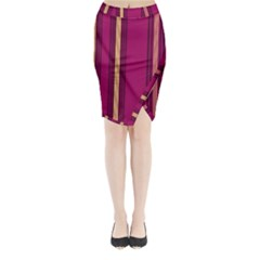 Stripes Background Wallpaper In Purple Maroon And Gold Midi Wrap Pencil Skirt