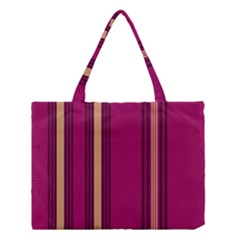 Stripes Background Wallpaper In Purple Maroon And Gold Medium Tote Bag