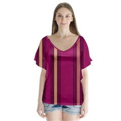 Stripes Background Wallpaper In Purple Maroon And Gold Flutter Sleeve Top