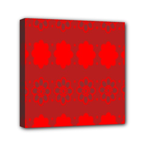 Red Flowers Velvet Flower Pattern Mini Canvas 6  X 6