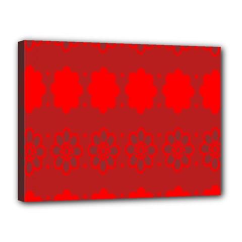 Red Flowers Velvet Flower Pattern Canvas 16  X 12