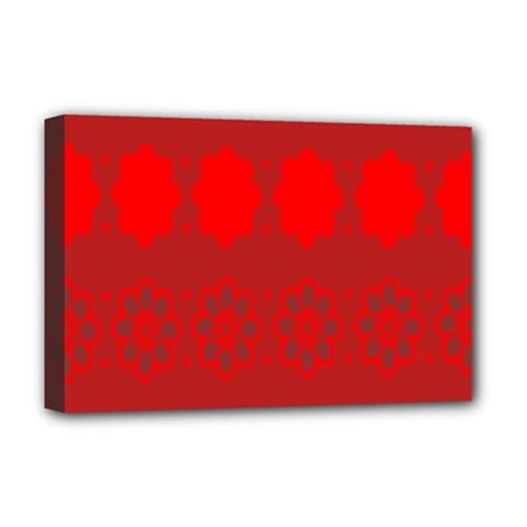 Red Flowers Velvet Flower Pattern Deluxe Canvas 18  x 12