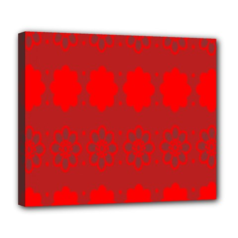 Red Flowers Velvet Flower Pattern Deluxe Canvas 24  x 20