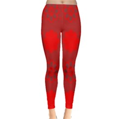Red Flowers Velvet Flower Pattern Leggings