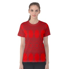 Red Flowers Velvet Flower Pattern Women s Cotton Tee