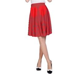 Red Flowers Velvet Flower Pattern A-Line Skirt