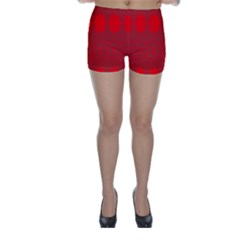Red Flowers Velvet Flower Pattern Skinny Shorts