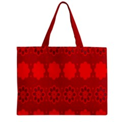 Red Flowers Velvet Flower Pattern Zipper Mini Tote Bag