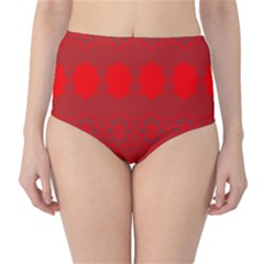 Red Flowers Velvet Flower Pattern High-Waist Bikini Bottoms