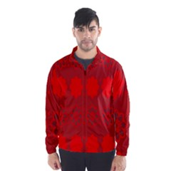 Red Flowers Velvet Flower Pattern Wind Breaker (men)
