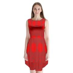 Red Flowers Velvet Flower Pattern Sleeveless Chiffon Dress