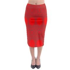 Red Flowers Velvet Flower Pattern Midi Pencil Skirt