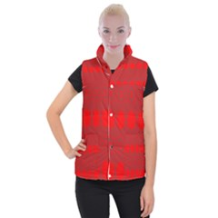 Red Flowers Velvet Flower Pattern Women s Button Up Puffer Vest