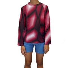 Red Abstract Background Kids  Long Sleeve Swimwear