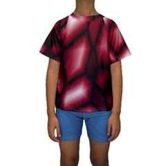 Red Abstract Background Kids  Short Sleeve Swimwear