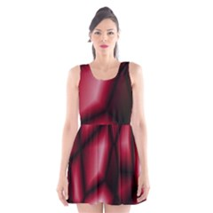 Red Abstract Background Scoop Neck Skater Dress