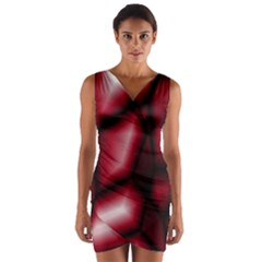 Red Abstract Background Wrap Front Bodycon Dress