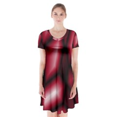 Red Abstract Background Short Sleeve V Neck Flare Dress