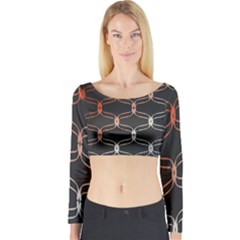 Cadenas Chinas Abstract Design Pattern Long Sleeve Crop Top