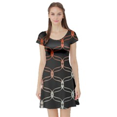 Cadenas Chinas Abstract Design Pattern Short Sleeve Skater Dress