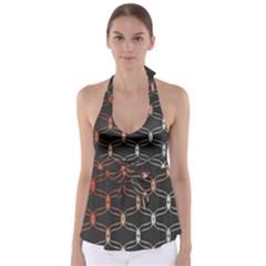 Cadenas Chinas Abstract Design Pattern Babydoll Tankini Top