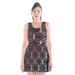 Cadenas Chinas Abstract Design Pattern Scoop Neck Skater Dress