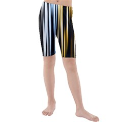 Digitally Created Striped Abstract Background Texture Kids  Mid Length Swim Shorts