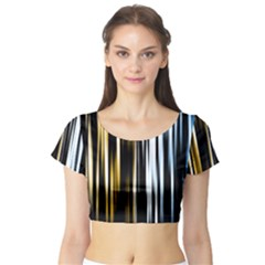 Digitally Created Striped Abstract Background Texture Short Sleeve Crop Top (Tight Fit)
