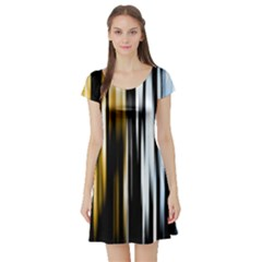 Digitally Created Striped Abstract Background Texture Short Sleeve Skater Dress