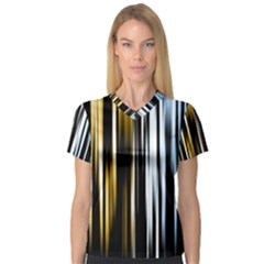 Digitally Created Striped Abstract Background Texture Women s V-Neck Sport Mesh Tee