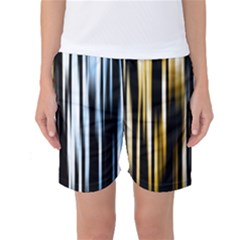 Digitally Created Striped Abstract Background Texture Women s Basketball Shorts