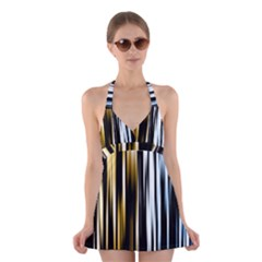 Digitally Created Striped Abstract Background Texture Halter Swimsuit Dress
